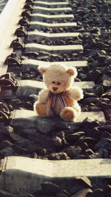 Teddy bear, Brown, Railway track, Pattern, Stones, Lonely, Cute toy