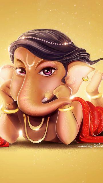 Lord Ganesha, Little Ganesha, Ganapati Bappa, Cute Ganesha, Yellow background, Hindu God
