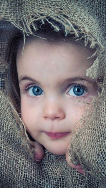 Cute boy, Hiding, Jute Cloth, Cute child, Toddler, 5K