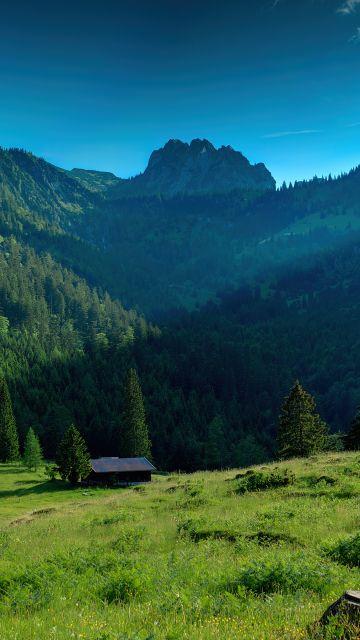 Bavarian Alps, Mountains, Sunny day, Landscape, Countryside, House, Blue Sky, Scenery, Germany
