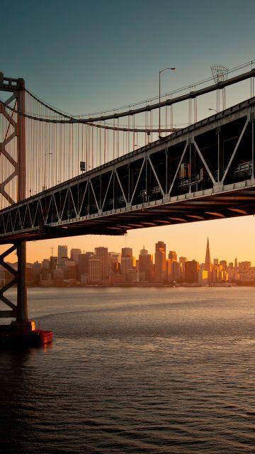San Francisco-Oakland Bay Bridge, Downtown, San Francisco, Sunset, Seascape