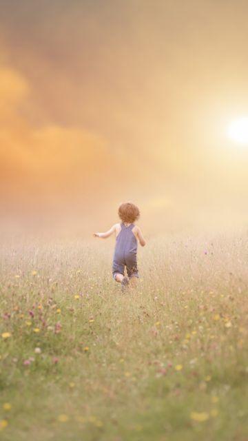 Cute boy, Child, Running, Playing, Fog, Fun, Summer, Meadow, 5K