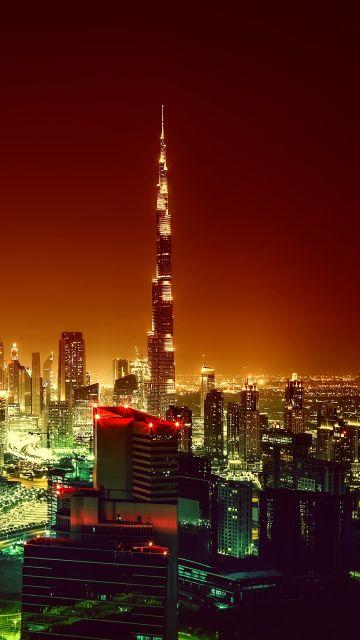 Burj Khalifa, Dubai, United Arab Emirates, City Skyline, Cityscape, Night lights, Skyscrapers, Aerial view
