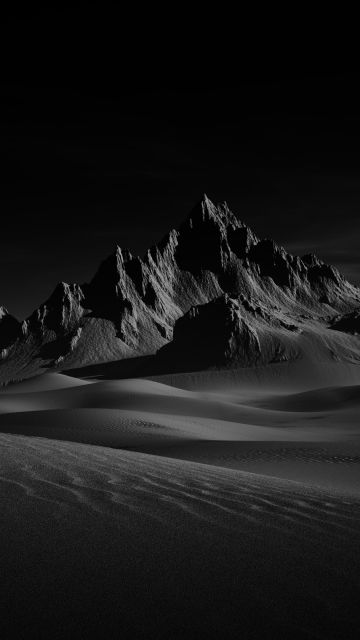 Desert, Doom, Sand Dunes, Dark background, Monochrome, Landscape, Scenery, Dark Sky