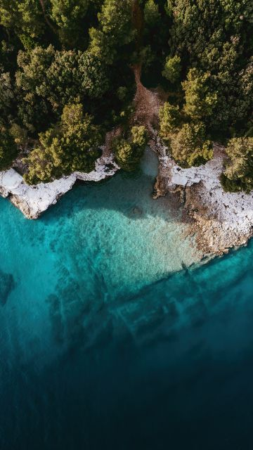 Island, Mi Pad 5 Pro, Aerial view, Drone photo, Seashore, Forest, Trees, Stock